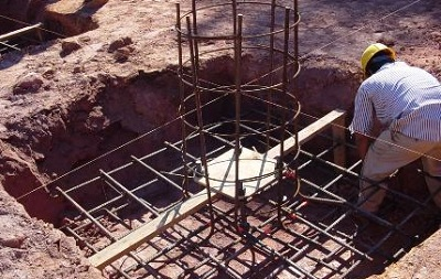 Laying of Column Footing Reinforcement   Foundation Design
