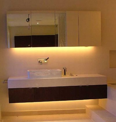 Concealed Lighting effect around a cabinet